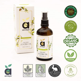 Anveya Jojoba Oil, Cold Pressed & Certified Organic, 100ml, (for Hair, Skin & Face Care) <small>(Shipping Per: MK90.00)</small>