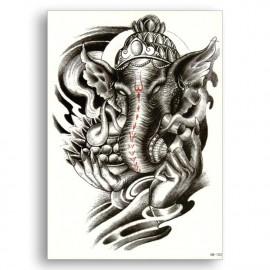 3D Temporary Tattoo Waterproof Sticker Beautiful Black Big Ganesha Face Popular New Designs Size - 21x15cm (103) <small>(Shipping Per: MK77.10)</small>
