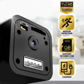 IFITech 1080p HD Hidden Camera, Plug USB Charger, 128GB SD Card Support(not included), 2 Mode Recording, Nanny cam <small>(Shipping Per: MK616.25)</small>