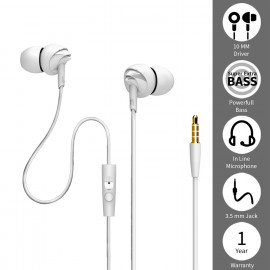 boAt BassHeads 100 in-Ear Headphones with Mic (White) <small>(Shipping Per: MK88.75)</small>