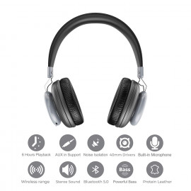 Bass Evolution Latitude Bluetooth 5.0 Wireless Headphones with Microphone, Deep Bass and Noise Isolation <small>(Shipping Per: MK1,728.90)</small>