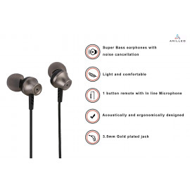 Axilleo MT-10 in-Ear Earphone with Mic | Mobile Phone Wired Headsets Stereo Sound and Hands-Free Mic - Black and Earphone Pouch <small>(Shipping Per: MK3,927.30)</small>
