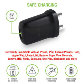HTC E250 USB Wall Charger for iPhone and Android Devices (Black) <small>(Shipping Per: MK118.90)</small>