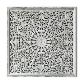 Craftter Antique White Color Handcarving on Wood Wall Décor Hanging Large Wall Sculpture Art <small>(Shipping Per: MK9,273.80)</small>