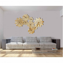 Craftter Set of Flowers Gold Finish Decorative Wall Art Hanging Sculpture <small>(Shipping Per: MK7,810.80)</small>