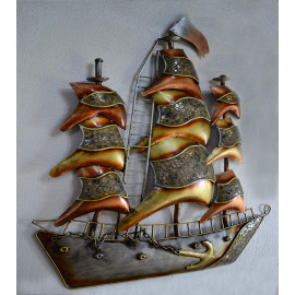 Collectible India Metal Boat Wall Mounted Art Sculpture Decor Hanging Home Living Room Office Artwork(Size 38 x 28 Inches) <small>(Shipping Per: MK9,212.95)</small>
