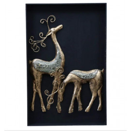 Collectible India Metal 3D Deer Couple Wall Mounted on MDF Frame Wall Decor and Hanging Art Animal Feng Shui Sculpture for Home Living Room Bedroom(Size 32 x 22 Inches) <small>(Shipping Per: MK12,739.45)</small>