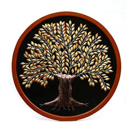 Collectible India Metal Round MDF Panel Golden Tree of Life Wall Mounted and Hanging Decor Art Sculpture Home Office Living Room Artwork(Size 39 x 39 Inches) <small>(Shipping Per: MK3,927.45)</small>