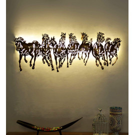 Collectible India Metal 3D LED Backlit Running Horse Wall Mounted Hanging Art Sculpture Home Office Showpiece Decor(Size 42 x 17 Inches) <small>(Shipping Per: MK3,645.00)</small>