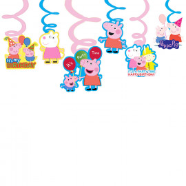 PARTY PROPZ™ Peppa Pig Swirls Hanging Set of 6/ Peppa Pig Party Supplies/ Peppa Pig Party Decoration <small>(Shipping Per: MK128.40)</small>
