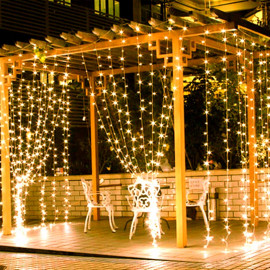 CurioCity LED Light String Curtain 3m x 3m, 300 LEDs, 8 Memory Flashing Modes - Birthday, Festival, Wedding, Party Outdoor Indoor Decoration for Home, Garden, Restaurant (Bright Golden/Warm-White) <small>(Shipping Per: MK627.40)</small>
