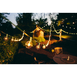 Quace Plastic G40 Globe Backyard Patio Hanging Indoor/Outdoor String Lights with Clear Bulbs, 25ft(Yellow) <small>(Shipping Per: MK976.40)</small>
