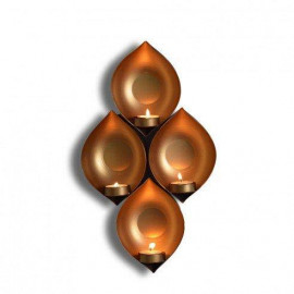 Collectible India Iron Eye Shaped Wall Sconce Hanging Tealight Candle Holder Home Office Festival Decoration(13.5 x 9 Inches) <small>(Shipping Per: MK547.90)</small>