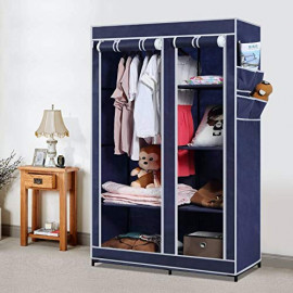 Arsh Portable And Collapsible Wardrobe Metal Frame 6 Racks Closet, Aw06, Blue With High Capacity Up To 70Kgs <small>(Shipping Per: MK1,178.40)</small>