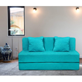 Urban Gifts Washable Cover Sofa Cum Bed Two Seater 4x6 Feet with Two Cushion Perfect for Guests Sky Blue Color <small>(Shipping Per: MK5,206.65)</small>