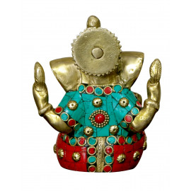 ELITE Handcrafted with Antique Look Brass Statue of Lord Ganesh In Stone for Health, Happiness and Stability at Home (Red, 12x10x5cm, 800g) <small>(Shipping Per: MK793.45)</small>
