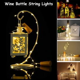 Quace 20 LED Wine Bottle Cork Lights Copper Wire String Lights, 2M/7.2FT Battery Operated Wine Bottle Fairy Lights Bottle DIY, Christmas, Wedding Party Décor (Warm White, 1 Unit) <small>(Shipping Per: MK260.35)</small>