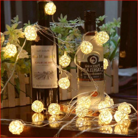 Mansaa Essentials - Home Decor String Light (Battery Operated with 3 AA Battery Case(Batteries not Included) (Gold Balls, 20 Balls 6.6 feet) <small>(Shipping Per: MK4,487.70)</small>