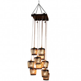 ExclusiveLane Barrel Shaped Home Decorative Chandelier Light Cum Hanging Ceiling Lamp with 10 Shades (Brown and Golden) <small>(Shipping Per: MK3,905.40)</small>