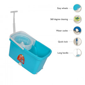 Gala Popular Spin mop with easy wheels and bucket for magic 360 degree cleaning (Sky Blue) <small>(Shipping Per: MK619.65)</small>