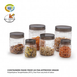 Cello Checkers Plastic PET Canister Set, 18 Pieces, Clear <small>(Shipping Per: MK547.90)</small>