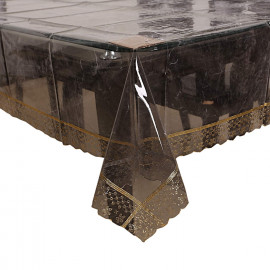 Kuber Industries Golden Lace PVC 6 Seater Dining Table Cover - Transparent <small>(Shipping Per: MK628.40)</small>