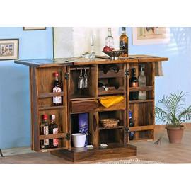 Santosha Decor Sheesham Wood Pre-Assemble Stylish Bar Cabinet/ Rack with Wine Glass Storage ( Santosha Decor, Natural Brown Finish) <small>(Shipping Per: MK612.90)</small>