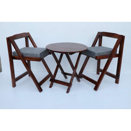 JS Home Decor Sheesham Wood Foldable Patio Dining Set for Balcony Garden and Outdoor | 2 Chairs and Table | Brown <small>(Shipping Per: MK4,009.55)</small>