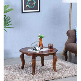 Krishna Wood Decor Rectangle Sheesham Wood Round Coffee Table for Living Room | Wooden Center Table | Walnut Brown <small>(Shipping Per: MK4,321.95)</small>
