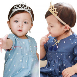 Bembika Baby Girl Rhinestone Tiara Crown Princess Headband Hair Accessories Birthday Photography Photoshoot Prop (Silver) <small>(Shipping Per: MK1,284.90)</small>