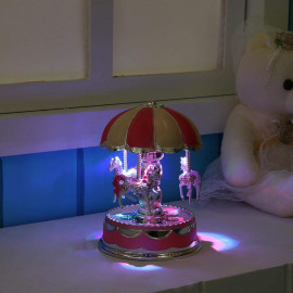 Questionno Creative LED Light Merry-Go-Round Music Box Kid Toy Musical Case (Pink) <small>(Shipping Per: MK507.85)</small>