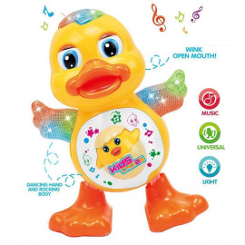 Kurtzy Dancing Duck Toy with LED Light Musical Sound for Baby Children Kids Certified by Bureau of Indian Standards <small>(Shipping Per: MK528.45)</small>