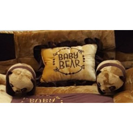 Pinks & Blues New Born Baby full sleeping bedding set with 2 side pillows in a shape of cute bears. ( 0 - 48 months ) (CAMEL CHOCLATE) <small>(Shipping Per: MK3,928.45)</small>