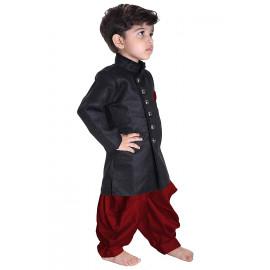 JBN Creation Boys' Black Cotton Blend Sherwani Style Kurta Set(VASBSW120) <small>(Shipping Per: MK549.95)</small>