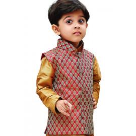 JBN Creation Boys Silk Cotton Modi Nehru Jacket (Maroon_VASBJMA005) <small>(Shipping Per: MK1,102.25)</small>