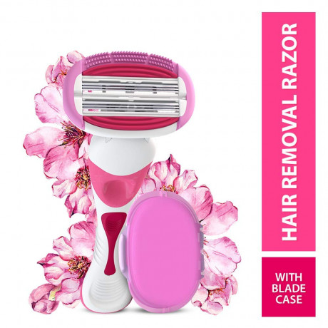 LetsShave Soft Touch 6 Body Hair Removal Razor for Women (1 Razor Handle, 1 Blade Cartridge, 1 Blade Case) <small>(Shipping Per: MK0.30)</small>