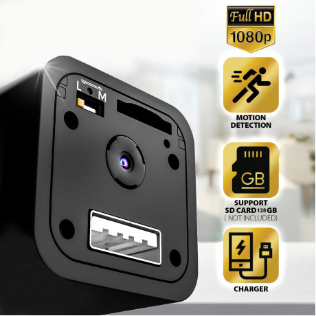 IFITech 1080p HD Hidden Camera, Plug USB Charger, 128GB SD Card Support(not included), 2 Mode Recording, Nanny cam <small>(Shipping Per: MK0.95)</small>