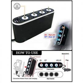 ELECTROPRIME Car Cigarette Lighter Splitter 4 Way Multi Socket USB Charger Adapter DC 12V/24V <small>(Shipping Per: MK1.75)</small>