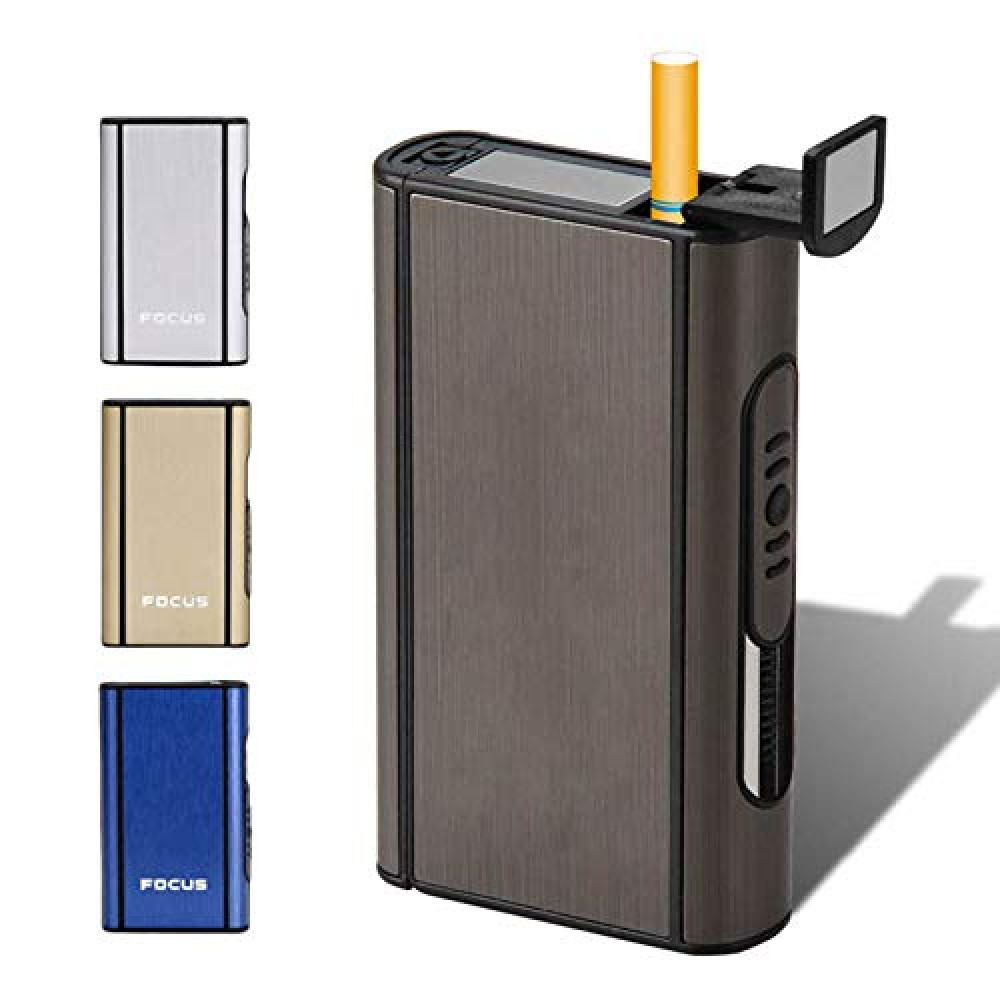 XiuFen Aluminium Alloy Ejection Holder Portable Automatic Cigarette Case Windproof Metal Smoke Boxes Color Mixing JDYH006 <small>(Shipping Per: MK0.35)</small>