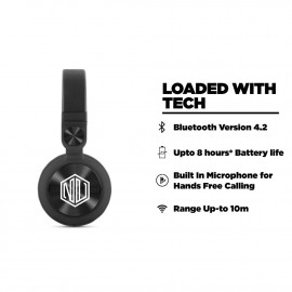 Nu Republic Starboy X-Bass Wireless Headphone with mic (Black) <small>(Shipping Per: MK2.35)</small>